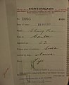 Chung He Auckland Chinese poll tax certificate butts Certificate issued at Auckland.jpg
