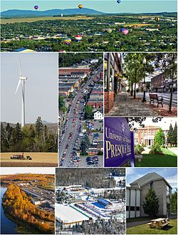 Clockwise, from top: Crown of Maine Balloon Fest in Presque Isle, Downtown, یونیورسٹی آف میئن ایٹ پریسک آئل, Aroostook Band of Micmac headquarters and museum, Nordic Heritage Center, Aroostook Centre Mall, UMPI windmill, Main Street