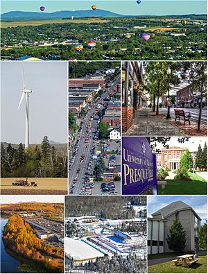 Presque Isle, Maine - Clockwise, from top:  Crown of Maine Balloon Fest in Presque Isle, Downtown, University of Maine at Presque Isle, Aroostook Band of Micmac headquarters and museum, Nordic Heritage Center, Aroostook Centre Mall, UMPI windmill, Main Street