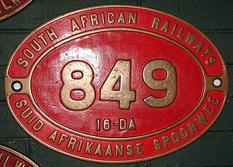 South African Class 16DA 4-6-2 1928 - Image: Class 16DA 849 (4 6 2) ID