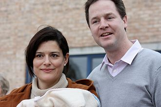 Radical centrism - Nick Clegg with his wife and infant son, 2009
