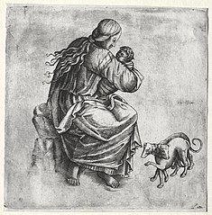 Mother and Child with Two Dogs