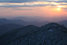 The top of Mount Le Conte, one of the highest mountains in eastern North America