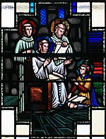 St. David as teacher of St. Finnian in a stained glass window at Clonard