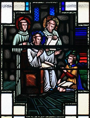 Saint David - St. David as teacher of St. Finnian in a stained glass window at Clonard