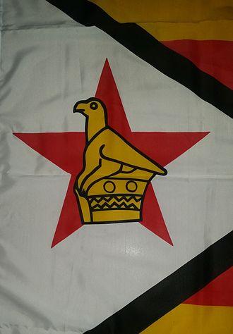 Flag of Zimbabwe - Close up of the Zimbabwe Bird on a flag manufactured in Zimbabwe
