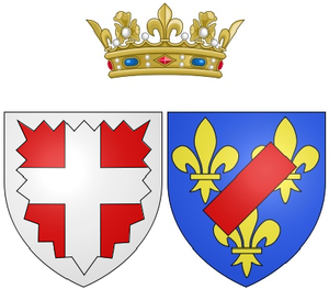Élisabeth de Bourbon - Image: Coat of arms of Élisabeth de Bourbon as Duchess of Nemours