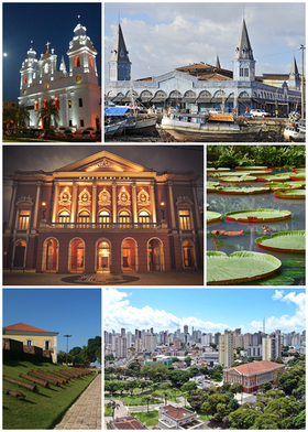 From the top, clockwise: Our Lady of Grace Cathedral; Ver-o-Peso Market; Victoria amazonica at the Museu Paraense Emílio Goeldi; view of the city; Forte do Presépio and Theater of Peace.