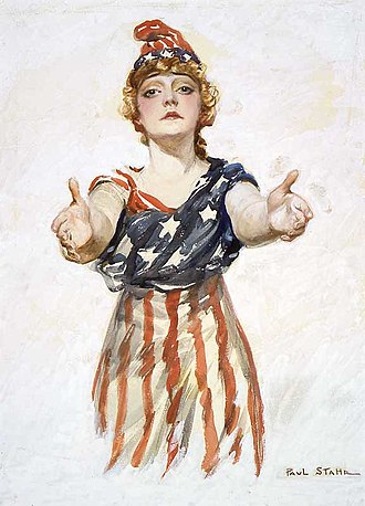 "Culture of the United States - Columbia reaching out to viewer. Original design for the ""Be Patriotic"" poster by Paul Stahr, c. 1917–18"