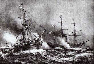 Battle of Havana (1870) - Image: Combat du Bouvet et du Meteor