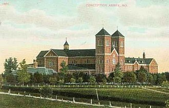 Conception Abbey - Conception Abbey from 1908 postcard