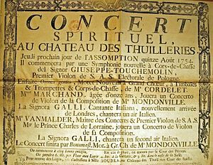 Concert Spirituel - Poster advertising the Concert Spirituel to be held on 15 August 1754