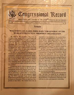 Kamil Idris - Congressional Record