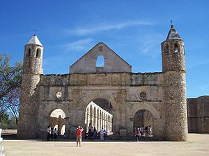 Front view of the Santiago Apostol Convent. It...
