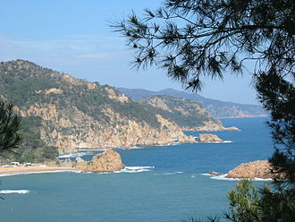 "Costa Brava - Typical landscape of Costa Brava that gives its name, ""rugged coast"" (coastline between Sant Feliu de Guíxols and Tossa de Mar)"