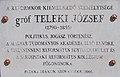 Count József Teleki plaque (2005), 2020 Sárospatak.jpg