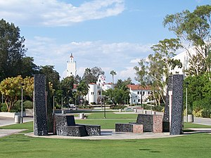 The courtyard at San Diego State University lo...
