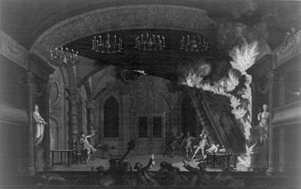 Stadsschouwburg - The new theater catches fire, 1772