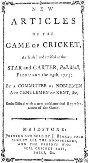 Laws of Cricket - New articles of the game of cricket, 25 February 1774