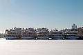 Cruise Ships in Winter at Khimki Reservoir Stern View 10-feb-2015.jpg