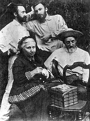 Jacques Curie - Jacques (1856-1941, left) with his brother Pierre (1859-1906) and his parents Eugène Curie (1827-1910) and Sophie-Claire Depouilly (1832-1897)
