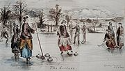 A curling match at Eglinton Castle, Ayrshire, Scotland in 1860. The Curling House is located to the left of the picture.