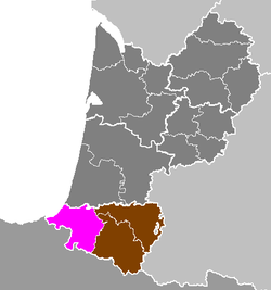 Location of Bayonne in Aquitaine