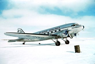 Alaska Airlines - An Alaska Airlines Douglas DC-3, one of the aircraft purchased by the airline after World War II