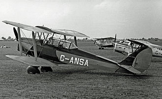 De Havilland Tiger Moth - Tiger Moth Coupe with spatted undercarriage at Coventry Airport in 1955