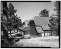 DISTANT VIEW OF SOUTHWEST CORNER, LOOKING NORTHEAST - Bryce Canyon Lodge, Bryce Canyon, Garfield County, UT HABS UTAH,9-BRYCA,1-6.tif