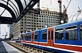 DLR Docklands Light Railway.Canary Wharf from West India Quay station ,London c.1989.jpg