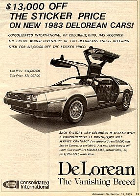 DeLorean clearance advertisement