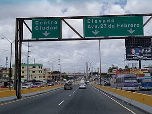 DR-3 - DR-3 Westbound before the Juan Bosch Bridge after the East Santo Domingo Tunnel.