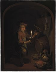A Boy with a Mousetrap by Candlelight