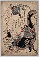 Daikokuten, a god of wealth, throws money to people below while Namazu, a giant catfish, is held down by Kashima-Takemikazuch, a god of thunder and swords (13719883715).jpg