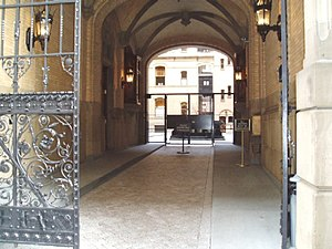 Nutopia - The entrance to the Dakota building which had a sign posted that the Nutopian Embassy was there