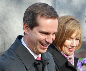 Dalton and Terri McGuinty exchanging greetings...