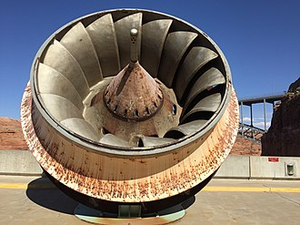 Hydroelectricity - An old turbine runner on display at the Glen Canyon Dam