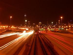 Dan Ryan Expressway - Expressway at night