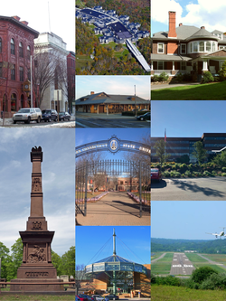Clockwise, from top left: Main Street Historic District, The Ridge at Danbury, Tarrywile Mansion, Praxair Headquarters, Danbury Municipal Airport, Danbury Fair Mall, David Wooster Monument, Western Connecticut State University, and the Danbury Railway Museum
