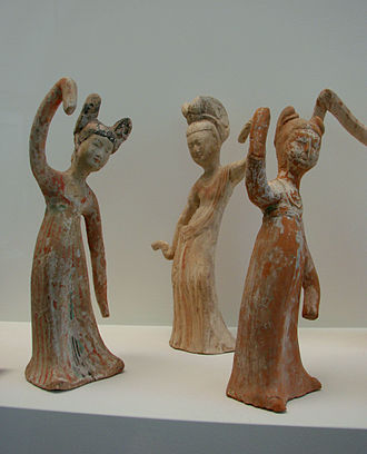History of Chinese dance - Tang dynasty figurines of female dancers. Dancing with sleeve movements is known from the Zhou dynasty and earlier in China.