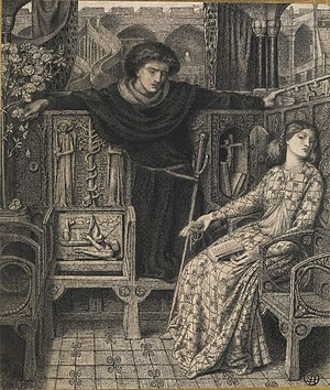 Prince Hamlet - Hamlet and Ophelia, by Dante Gabriel Rossetti
