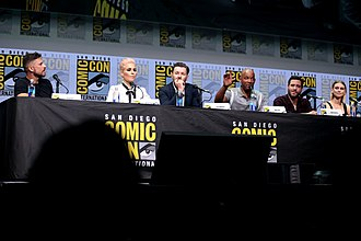 Bright (film) - (L–R): Director David Ayer and stars Noomi Rapace, Joel Edgerton, Will Smith, Édgar Ramírez, and Lucy Fry at the 2017 San Diego Comic-Con
