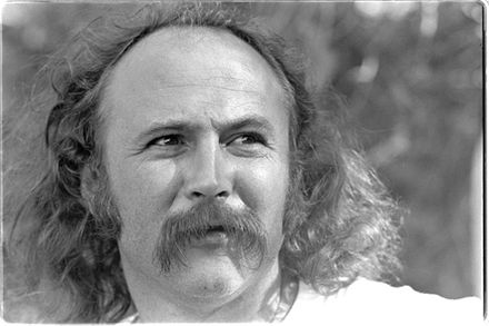 David Crosby, (of the Byrds and Crosby, Stills & Nash) is one of the singer-songwriters who crossed over into mainstream rock, seen here in 1976 backstage of the Frost Amphitheater, Stanford University. David Crosby in 1976.jpg