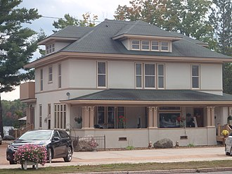 National Register of Historic Places listings in Florence County, Wisconsin - Image: David M. and Lottie Fulmer House, 209 Central Ave. Florence, WI now an upscale resturant