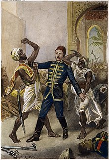 A drawing of General Gordon wrestling with a Sudanese soldier as another stands behind him with a knife held high