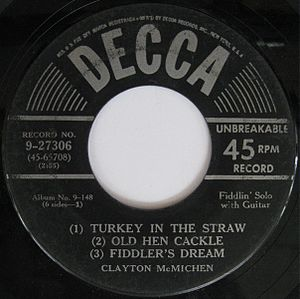 Clayton McMichen - Image: Decca 9 27306 Turkey In The Straw Old Hen Cackle Fiddler's Dream
