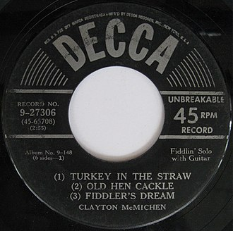 Clayton McMichen - Image: Decca 9 27306 Turkey In The Straw Old Hen Cackle Fiddler's Dream