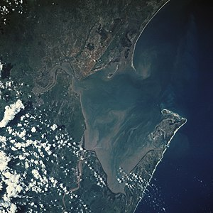 Maputo Bay - Maputo Bay from space, January 1990