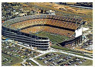 Mile High Stadium - Aerial view of Mile High Stadium circa 1980